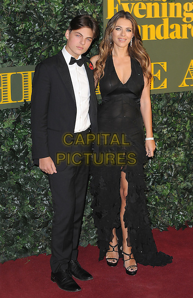 LONDON, ENGLAND - NOVEMBER 13: Damian Hurley and Elizabeth Hurley attend The London Evening Standard Theatre Awards at The Old Vic Theatre on November 13, 2016 in London, England.<br /> CAP/BEL<br /> &copy;BEL/Capital Pictures