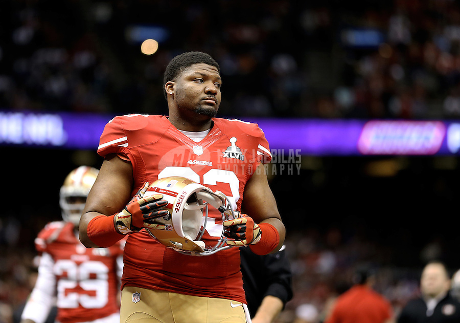 Feb 3, 2013; New Orleans, LA, USA; San Francisco 49ers defensive end Tony Jerod-Eddie (63) against the Baltimore Ravens in Super Bowl XLVII at the Mercedes-Benz Superdome. Mandatory Credit: Mark J. Rebilas-