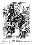 "The Wooing. Miss Ulster. ""An' what's the good of him sendin' me flowers when I've told him 'no' already?"" Mr. Punch. ""Well now, come, my ear - won't you just take a good look at them before you start turning up your pretty nose?"""