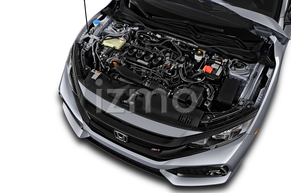Car stock 2017 Honda Civic Si 2 Door Coupe engine high angle detail view