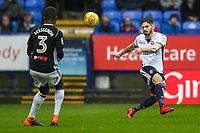 Bolton Wanderers' Dorian Dervite clears under pressure from Fulham's Ryan Sessegnon<br /> <br /> Photographer Andrew Kearns/CameraSport<br /> <br /> The EFL Sky Bet Championship - Bolton Wanderers v Fulham - Saturday 10th February 2018 - Macron Stadium - Bolton<br /> <br /> World Copyright &copy; 2018 CameraSport. All rights reserved. 43 Linden Ave. Countesthorpe. Leicester. England. LE8 5PG - Tel: +44 (0) 116 277 4147 - admin@camerasport.com - www.camerasport.com