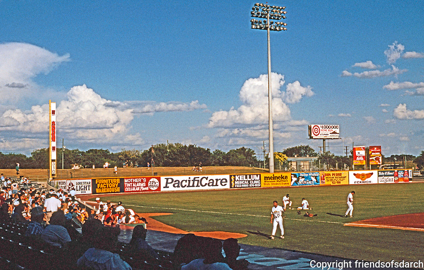 Ballparks: San Antonio Municipal Stadium. View of left field and grass berm for picknickers.