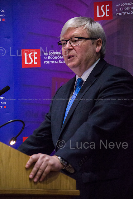 London, 01/06/2015. Today, the LSE (London School of Economics and Political Studies) a public lecture - part of the Ralph Miliband Programme &quot;War and Peace&quot; lecture series - called &quot;The Rise of China and its Impact on the Future Global Order&quot; hosted by Kevin Rudd (Australian Politician; he was twice Prime Minister of Australia, from 2007 to 2010, and again in 2013; former Leader of the Australian Labor Party; in February 2014, he was named a Senior Fellow with John F. Kennedy School of Government at Harvard University; in December 2014, he became a Senior Advisor with the political risk consulting firm Eurasia Group; he is President of the Asia Society Policy Institute in New York, ASPI, a &quot;think-do tank&quot; dedicated to second track diplomacy to assist governments and businesses on policy challenges within Asia, and between Asia, the US and the West). Chair of the event was Robin Archer (Associate Professor in Political Sociology and Director of the Ralph Miliband Programme at LSE).<br /> <br /> Here there is the link to the podcast to listen the lecture: http://bit.ly/1AMgX6t