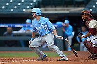 Cody Roberts (11) of the North Carolina Tar Heels starts down the first base line against the Boston College Eagles in Game Five of the 2017 ACC Baseball Championship at Louisville Slugger Field on May 25, 2017 in Louisville, Kentucky. The Tar Heels defeated the Eagles 10-0 in a game called after 7 innings by the Mercy Rule. (Brian Westerholt/Four Seam Images)