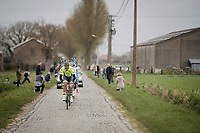 the breakaway group over the cobbbles<br /> <br /> 43rd Driedaagse Brugge-De Panne 2019 <br /> One day race (1.UWT) from Brugge to De Panne BEL (200km)<br /> <br /> ©kramon