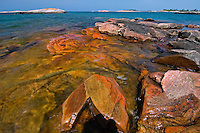 Rocks on shoreline of Windsor Island in Georgian Bay of Lake Huron<br /> near Snug Harbour<br /> Ontario<br /> Canada
