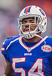 14 December 2014: Buffalo Bills linebacker Larry Dean concludes his pre-game warm ups prior to facing the Green Bay Packers at Ralph Wilson Stadium in Orchard Park, NY. The Bills defeated the Packers 21-13, snapping the Packers' 5-game winning streak and keeping the Bills' 2014 playoff hopes alive. Mandatory Credit: Ed Wolfstein Photo *** RAW (NEF) Image File Available ***
