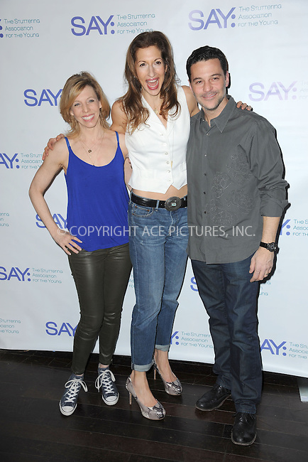 WWW.ACEPIXS.COM<br /> January 12, 2015 New York City<br /> <br /> Maddie Corman,Alysia Reiner and David Alan Basche attending the Third Annual Paul Rudd All-Star Bowling Benefit for The Stuttering Association for the Young (SAY) at Lucky Strike Lanes &amp; Lounge on January 12, 2015 in New York City.<br /> <br /> Please byline: Kristin Callahan/AcePictures<br /> <br /> ACEPIXS.COM<br /> <br /> Tel: (212) 243 8787 or (646) 769 0430<br /> e-mail: info@acepixs.com<br /> web: http://www.acepixs.com