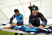 Scottish Saltires cricketers Safyaan Sharif (left) and Matthew Parker end a training session by signing new 2012 Cricket Scotland CB40 playing shirts (for sponsors and promotional use) ahead of the first CB40 matches of the season this Sunday and Monday against Surrey and Notts - Picture by Donald MacLeod  04.5.12  07702 319 738  clanmacleod@btinternet.com