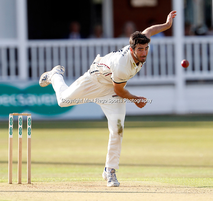 Grant Stewart bowls for Kent during the County Championship Division 2 game between Kent and Leicestershire at the St Lawrence ground, Canterbury, on Sun July 22, 2018