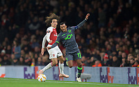 Nani of Sporting CP & Mattéo Guendouzi of Arsenal during the UEFA Europa League group match between Arsenal and Sporting Clube de Portugal at the Emirates Stadium, London, England on 8 November 2018. Photo by Andrew Aleks / PRiME Media Images.<br /> .<br /> (Photograph May Only Be Used For Newspaper And/Or Magazine Editorial Purposes. www.football-dataco.com)