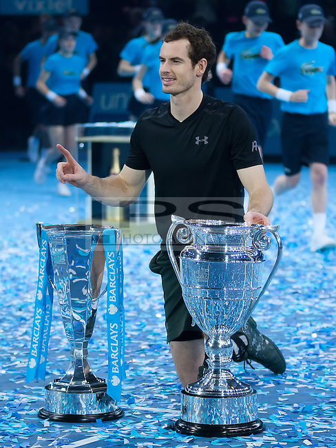 Andy Murray (GBR) with the ATP World Number One and World Tour Finals Trophies after his win in the final against Novak Djokovic (SRB), ATP World Tour Finals 2016, Day Eight, O2 Arena, Peninsula Square, London, United Kingdom, 20th Nov 2016