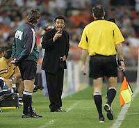 6 April 2005.  Pumas UNAM head coach Hugo Sanchez disputes a call with the officials during a CONCACAF Champion's Cup game  against DC United at RFK Stadium in Washington, DC.
