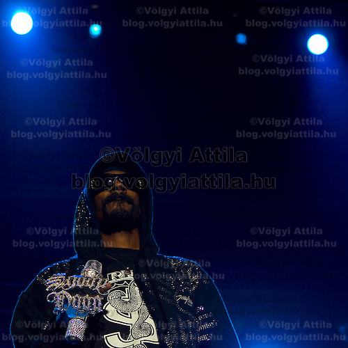 American rap star Snoop Dogg performing on tour.