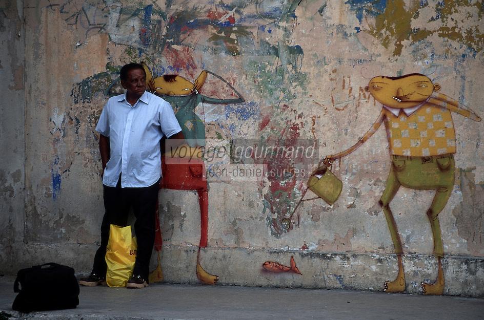 Amérique Centrale/Cuba/La Havane: Le Prado - Homme au sortir du travail et mur peint