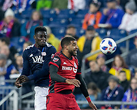 Foxborough, Massachusetts - May 12, 2018: In a Major League Soccer (MLS) match, New England Revolution (blue/white) defeated Toronto FC (red), 3-2, at Gillette Stadium.
