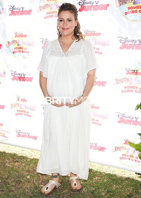 PASADENA, CA, USA - AUGUST 16: Alyssa Milano at the Disney Junior's 'Pirate And Princess: Power Of Doing Good' Tour held at Brookside Park on August 16, 2014 in Pasadena, California, United States. (Photo by Celebrity Monitor)