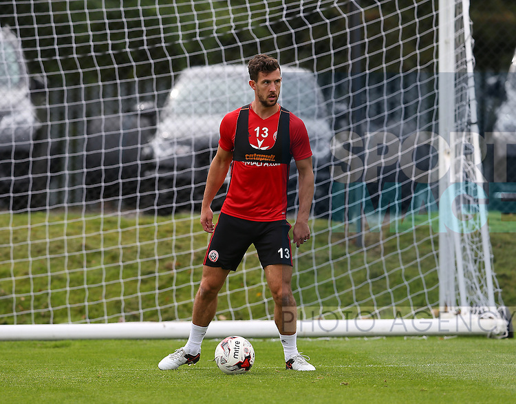 Jake Wright of Sheffield Utd during the Sheffield Utd training session at the Shirebrook training complex, Sheffield. Picture date: 2nd September 2016. Picture Simon Bellis/Sportimage