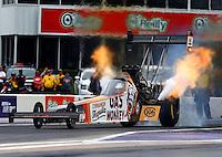 Apr 26, 2015; Baytown, TX, USA; NHRA top fuel driver Kebin Kinsley during the Spring Nationals at Royal Purple Raceway. Mandatory Credit: Mark J. Rebilas-