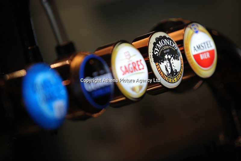 (L-R) Coast to Coast, Guiness Extra Cold, Sagres, Symonds and Amstel draughts at the bar