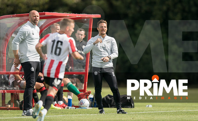 Brentford B coach Sam Saunders during the behind closed doors friendly between Brentford B and Wycombe Wanderers at Brentford Football Club Training Ground & Academy, 100 Jersey Road, TW5 0TP, United Kingdom on 3 September 2019. Photo by Andy Rowland.