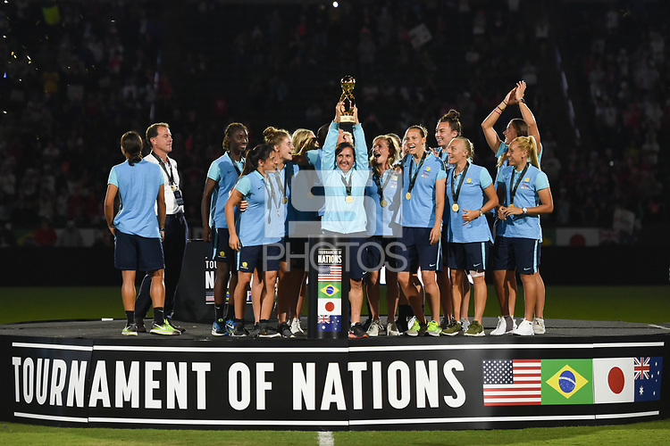 Carson, CA - Thursday August 03, 2017: Tournament of Nations champions Australia   after the 2017 Tournament of Nations match between the women's national teams of the United States (USA) and Japan (JPN) at the StubHub Center.
