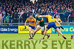 David Clifford Kerry in action against Cillian Brennan Clare during the Munster Senior Football Semi Final between Kerry and Clare at Ennis on Saturday night.