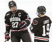 Mark Naclerio (Brown - 27), Matt Lorito (Brown - 19) - The Harvard University Crimson defeated the Brown University Bears 4-3 to sweep their first round match up in the ECAC playoffs on Saturday, March 7, 2015, at Bright-Landry Hockey Center in Cambridge, Massachusetts.