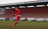 Francesco Antonucci of AS Monaco FC Youth hits a penalty during the UEFA Youth League round of 16 match between Tottenham Hotspur U19 and Monaco at Lamex Stadium, Stevenage, England on 21 February 2018. Photo by Andy Rowland.