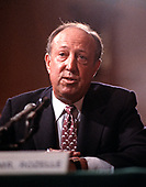 National Football League (NFL) Commissioner Pete Rozelle testifies before the United States Senate Judiciary Subcommittee on Monopolies on the ESPN-TV contract on Capitol Hill in Washington, DC on October 6, 1987.<br /> Credit: Ron Sachs / CNP
