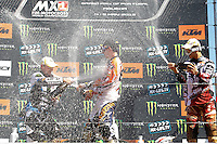 MX2 podium, JEFFREY HERLINGS (NED) of Red Bull KTM Factory Racing, MX2 (C), DEAN FERRIS (AUS) of Monster Energy Yamaha, MX2 (L) and JOSE BUTRON (ESP) of KTM Silver Action, MX2 (R) during GP of Portugal 2013 in MX1 and MX2, Casarão International Crossodromo, Águeda in Portugal on May 4, 2013 (Photo Credits: Paulo Oliveira/DPI) NortePhoto.com