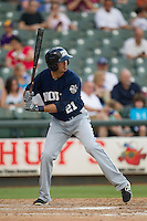 New Orleans Zephyrs second baseman Gil Velazquez (21) at bat during the Pacific Coast League baseball game against the Round Rock Express on June 30, 2013 at the Dell Diamond in Round Rock, Texas. Round Rock defeated New Orleans 5-1. (Andrew Woolley/Four Seam Images)