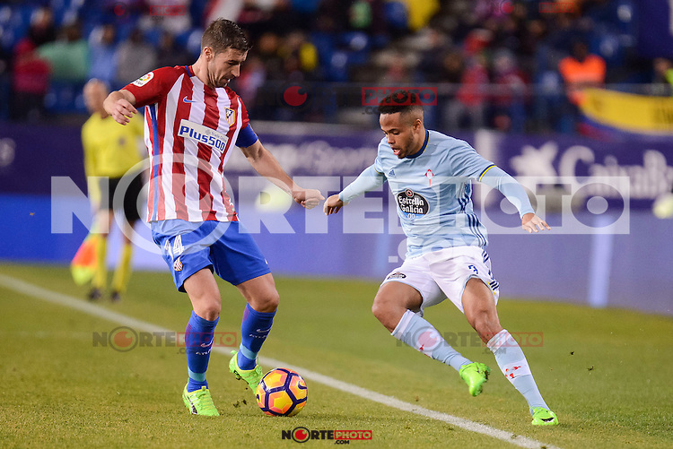 "Atletico de Madrid's Gabriel ""Gabi"" Fernández and Celta de Vigo's Theo Bongonda during La Liga match between Atletico de Madrid and Celta de Vigol at Vicente Calderon Stadium in Madrid, Spain. December 03, 2016. (ALTERPHOTOS/BorjaB.Hojas)"