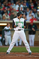 Dayton Dragons outfielder Jonathan Reynoso (38) at bat during a game against the Great Lakes Loons on May 21, 2015 at Fifth Third Field in Dayton, Ohio.  Great Lakes defeated Dayton 4-3.  (Mike Janes/Four Seam Images)