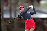 WALLACE, NC - MARCH 09: Hanako Kawasaki of Boston University tees off on the 16th hole of the River Course at River Landing Country Club on March 09, 2020 in Wallace, North Carolina.