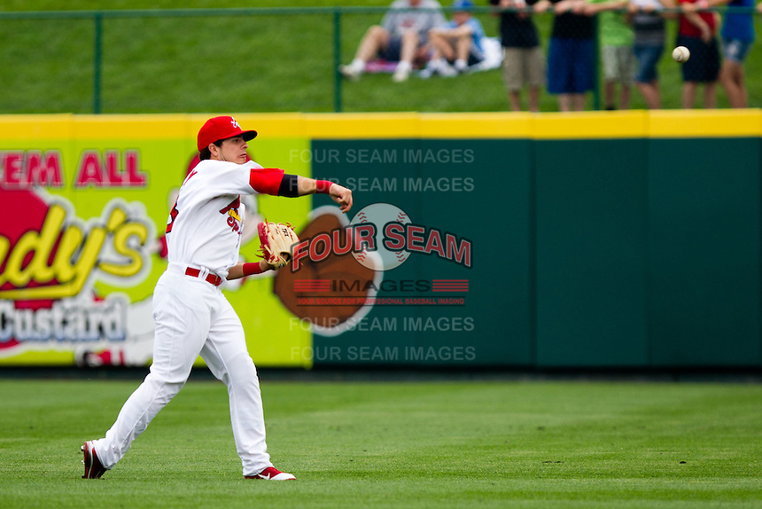 Alan Ahmady (38) of the Springfield Cardinals warms up prior to a game against the Arkansas Travelers on May 10, 2011 at Hammons Field in Springfield, Missouri.  Photo By David Welker/Four Seam Images.