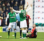 Hibs v St Johnstone....21.12.13    SPFL<br /> Paddy Cregg is red carded for his lunge on Paul Cairney by ref Alan Muir<br /> Picture by Graeme Hart.<br /> Copyright Perthshire Picture Agency<br /> Tel: 01738 623350  Mobile: 07990 594431
