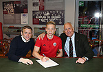 Sam Kelly new scholar 2018 pictured with  Del Geary (l) and chairman Kevin McCabe (r) during the championship match at the Bramall Lane Stadium, Sheffield. Picture date 28th April 2018. Picture credit should read: Simon Bellis/Sportimage