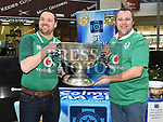 Steven and Chris Reilly with the Sam Maguire cup when it visited Southgate Shopping Centre with St Colmcilles GFC. Photo:Colin Bell/pressphotos.ie