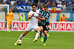 11.08.2019, Carl-Benz-Stadion, Mannheim, GER, DFB Pokal, 1. Runde, SV Waldhof Mannheim vs. Eintracht Frankfurt, <br /> <br /> DFL REGULATIONS PROHIBIT ANY USE OF PHOTOGRAPHS AS IMAGE SEQUENCES AND/OR QUASI-VIDEO.<br /> <br /> im Bild: Daichi Kamada (Eintracht Frankfurt #40) gegen Marco Schuster (SV Waldhof Mannheim #6) <br /> <br /> Foto © nordphoto / Fabisch