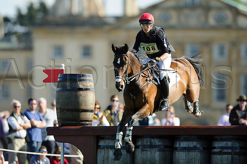 05.05.2013 Badminton, England. Lucy Jackson (NZL) on Animator II ia at the Wadworth Barrels during the Cross Country Test of the Mitsubishi Motors Badminton Horse Trials 2013 in the grounds of Badminton House.