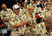 "St. Paul, MN - September 1, 2008 -- C.A. ""Chuck"" Oakes, a State Committeeman from Highlands County, Florida, left, and Cindy Tindell, right, of Palm Beach, Florida wear special Hawaiian shirts as do most of their fellow delegates from Florida on day 1 of the 2008 Republican National Convention in Saint Paul, Minnesota on Monday, September 1, 2008..Ron Sachs / CNP.(RESTRICTION: NO New York or New Jersey Newspapers or newspapers within a 75 mile radius of New York City)"