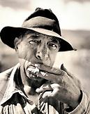 USA, Hawaii, The Big Island, Waimea, close-up of a Paniolo cowboy smoking cigarette at the Parker Ranch (B&W)