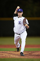 Northwestern Wildcats relief pitcher Josh Davis (34) delivers a pitch during a game against the Saint Leo Lions on March 4, 2016 at North Charlotte Regional Park in Port Charlotte, Florida.  Saint Leo defeated Northwestern 5-3.  (Mike Janes/Four Seam Images)
