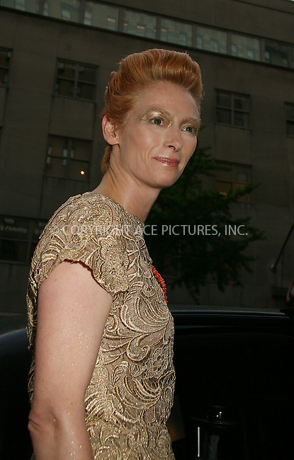 WWW.ACEPIXS.COM . . . . .  ....May 5 2008, New York City....Actress Tilda Swinton leaving the Carlise hotel on the way to the Metropolitan Museum of Art Costume Institute Gala.....Please byline: NANCY RIVERA- ACE PICTURES.... *** ***..Ace Pictures, Inc:  ..tel: (646) 769 0430..e-mail: info@acepixs.com..web: http://www.acepixs.com