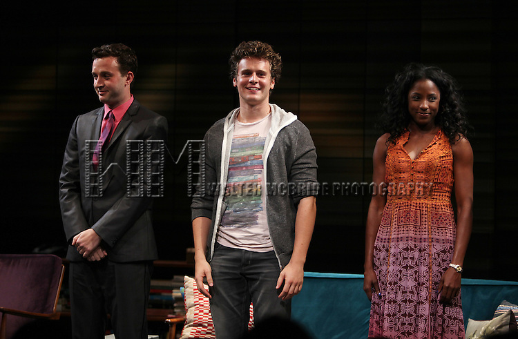 Eddie Kaye Thomas, Jonathan Groff, Rutina Wesley.during the Curtain Call for the MCC Theater World Premiere Production of 'The Submission' at the Lucille Lortel Theatre in  New York City.