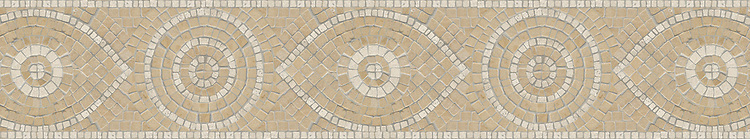 """7 1/2"""" Amulet border, a hand-chopped stone mosaic, shown in tumbled Jerusalem Gold and Travertine White."""