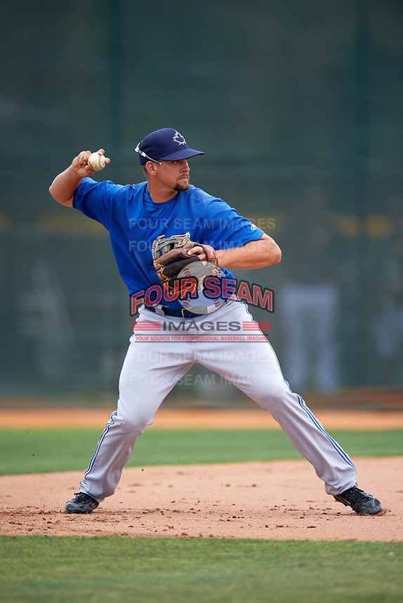 Toronto Blue Jays Ryan Metzier (8) during practice before a minor league Spring Training game against the Pittsburgh Pirates on March 24, 2016 at Pirate City in Bradenton, Florida.  (Mike Janes/Four Seam Images)