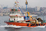 Bosphorus strait, commercial fishing boat, Istanbul, Turkey,