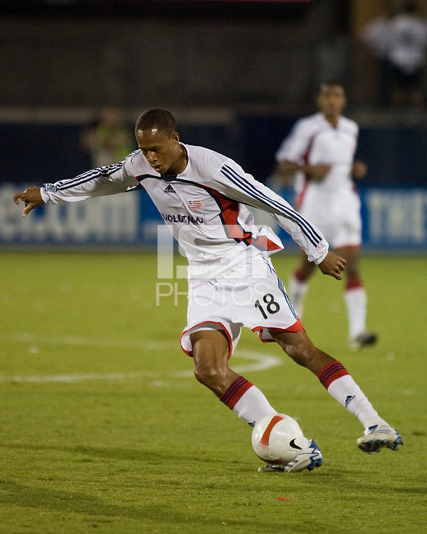 New England Revolution midfielder Khano Smith (18) advances the ball.  New England Revolution defeated FC Dallas 3-2 to capture the 2007 Lamar Hunt U.S. Open Cup at Pizza Hut Park in Frisco, TX on October 3, 2007.